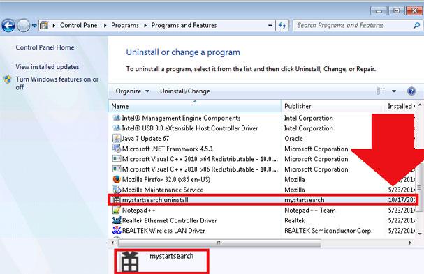 Удаление Mystartsearch Uninstal из панели управления программами