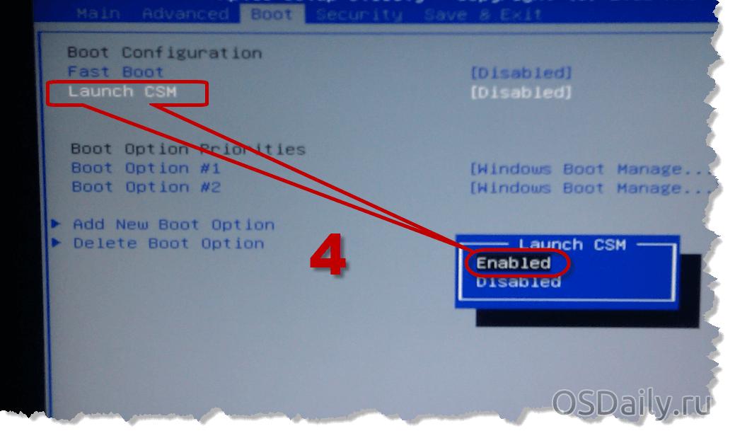 Установка Windows 8 вместо Windows 7 (Launch CSM)